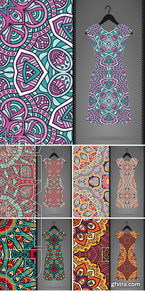 Stock Vectors - Dress with seamless pattern. Vintage decorative elements. Hand drawn background. Islam, Arabic, Indian, ottoman motifs. Perfect for printing on fabric or paper 2