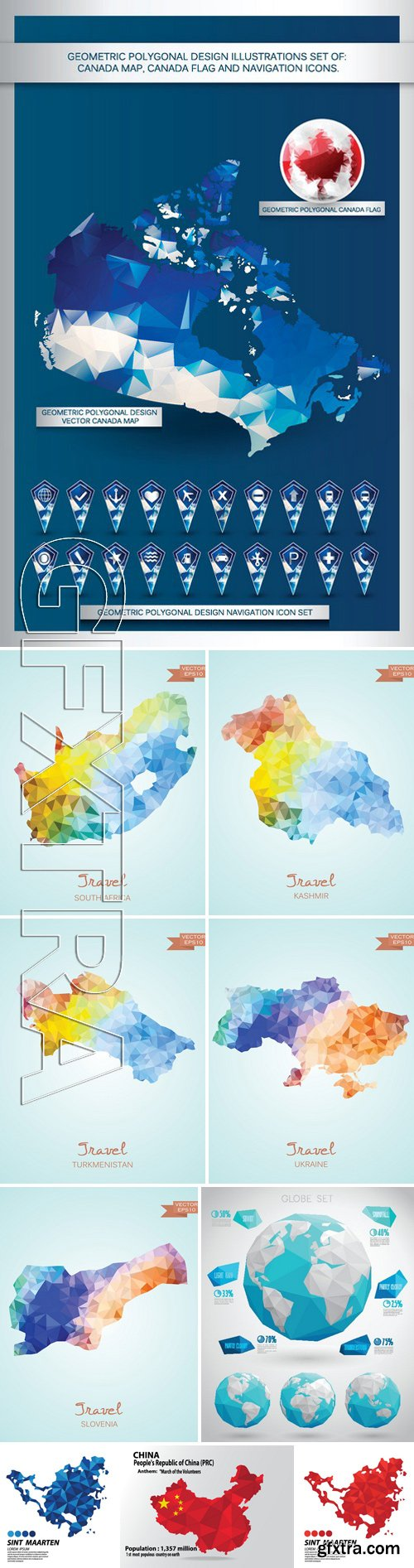 Stock Vectors - Geometric Polygonal Design Illustrations Set Of Map