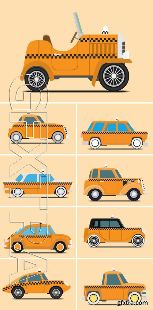 Stock Vectors - Vintage Taxi Car Image. isolated, vector illustration