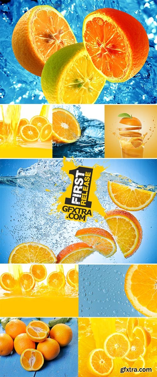Stock Photo: Fresh oranges falling in juice with lot of huge splashes