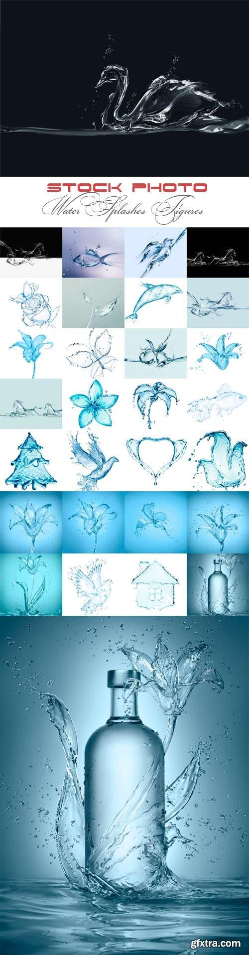 Water splashes figures raster graphics