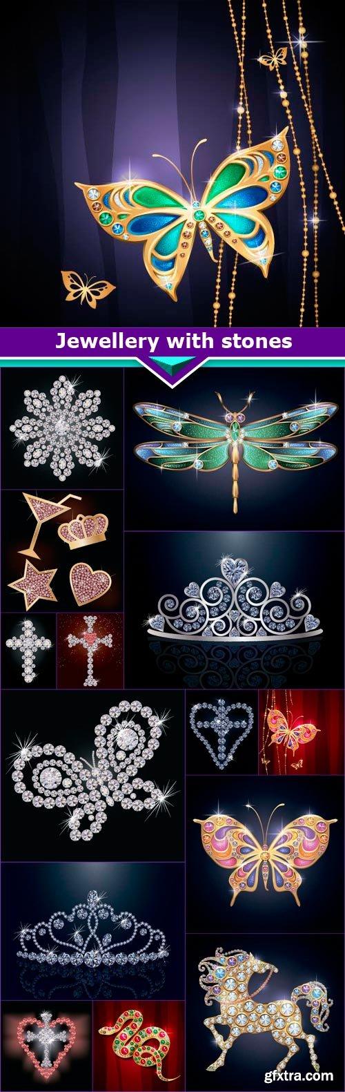 Jewellery with stones 15x EPS