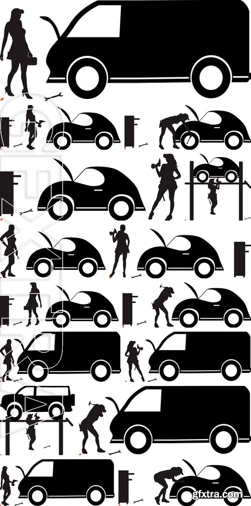 Stock Vectors - Vector silhouette car repairs on a white background