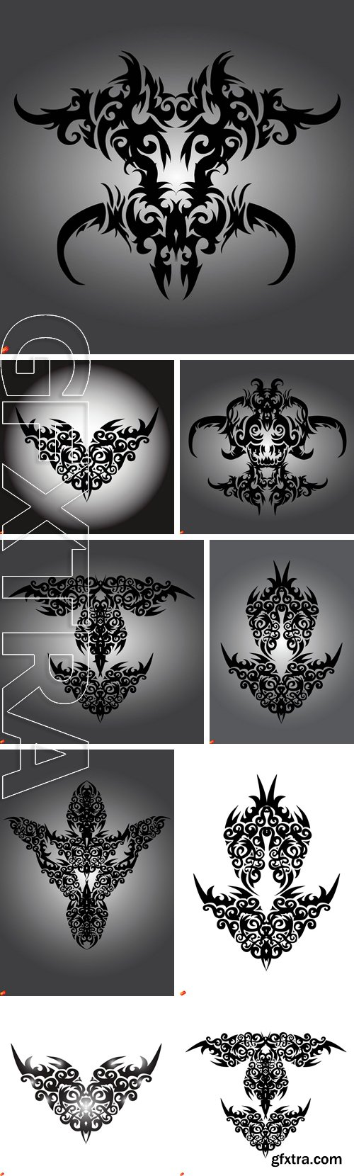 Stock Vectors - Asian tattoo graphics on a white background