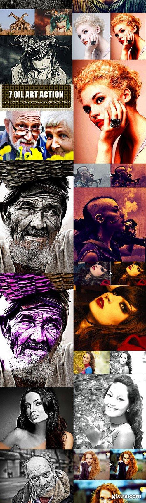 GraphicRiver - Oil Paint Art Photoshop Action Bundle 11456612