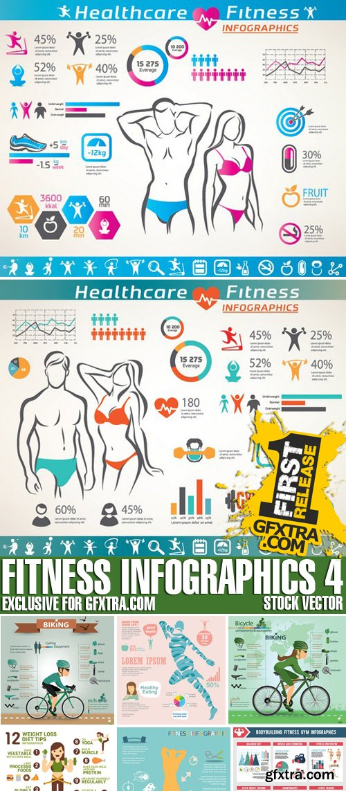 Stock Vectors - Fitness infographics 4, 25xEPS