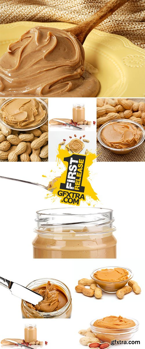 Stock Photo: Peanut butter in jar with spoon