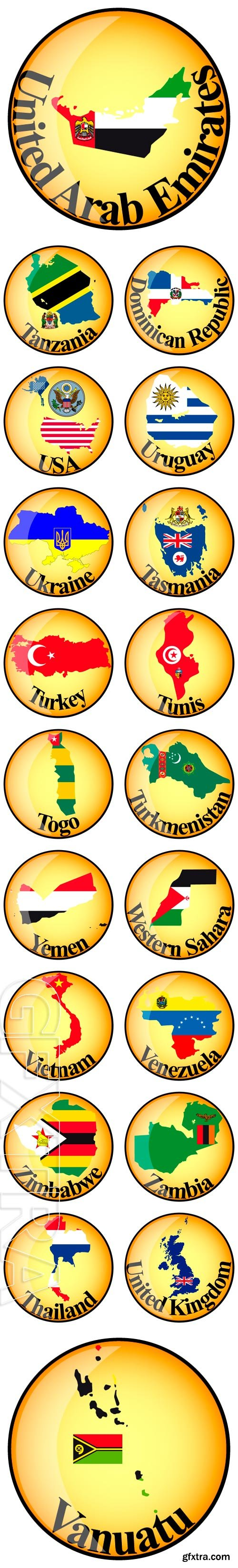 Stock Vectors - Orange button with the image maps of in the form of national flag