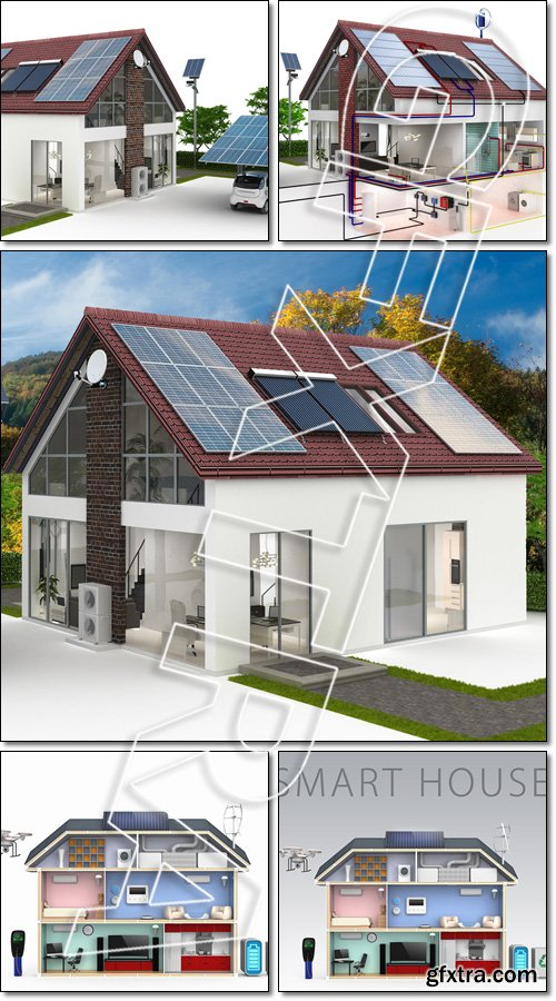 Smart house concept with energy efficient appliance. Energieversorung am Einfamilienhaus - Stock phot