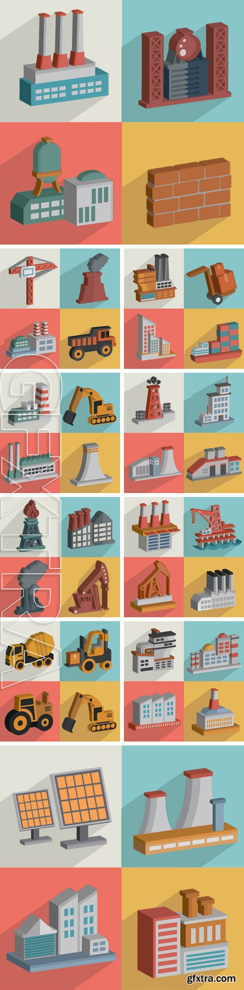 Stock Vectors - Factory and industry,flat icons design,clean vector