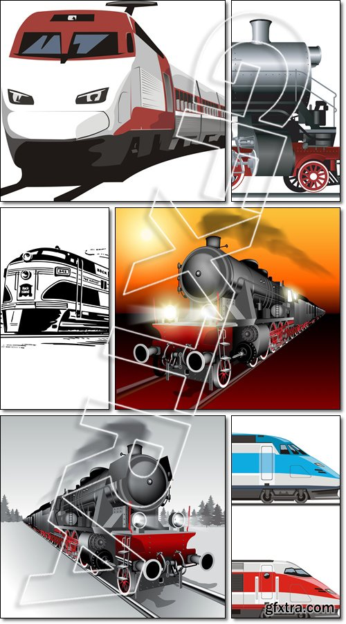 Passenger steam trains - Vector