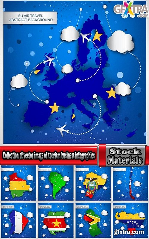 Collection of vector image of tourism business infographics different countries travel 25 Eps