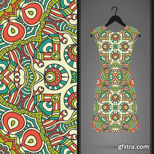 Stock Vectors - Dress With Seamless Pattern. Vintage Decorative Elements. Hand Drawn Background. Islam, Arabic, Indian, Ottoman Motifs. perfect for printing on fabric or paper 3