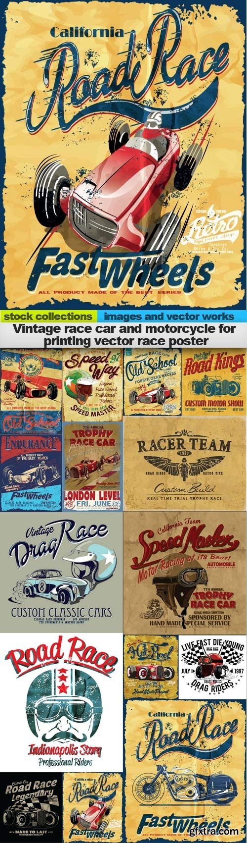 Vintage race car and motorcycle for printing vector race poster, 15 x EPS