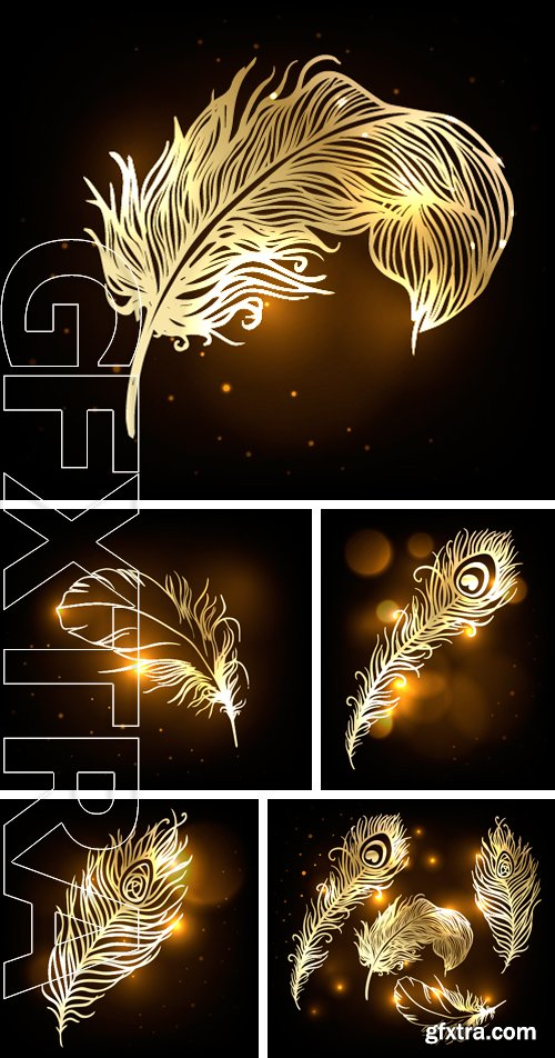 Stock Vectors - Shiny gold feather over dark background.  Vector illustration