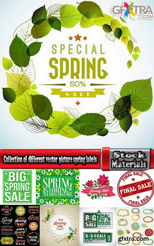 Collection of different vector picture spring labels 25 Eps