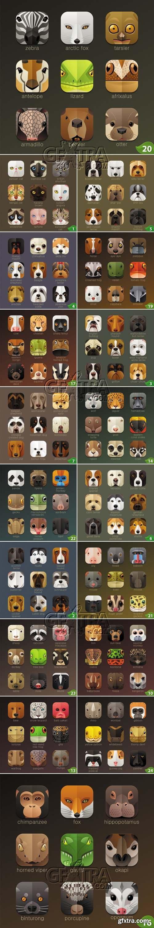 Animals Icons Vector