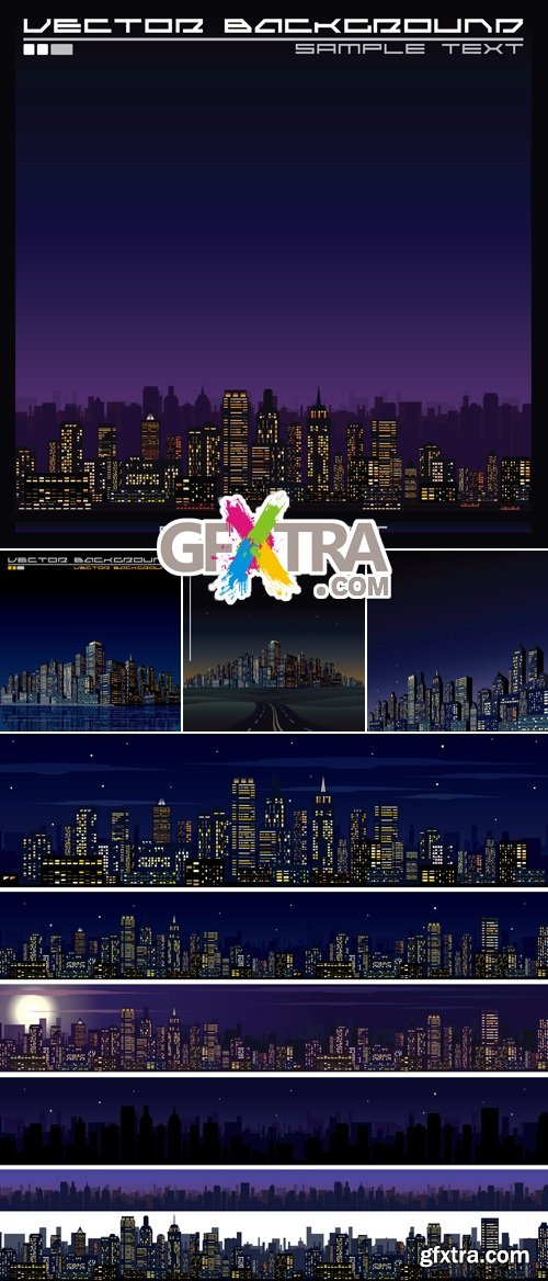 Night City Banners & Backgrounds Vector