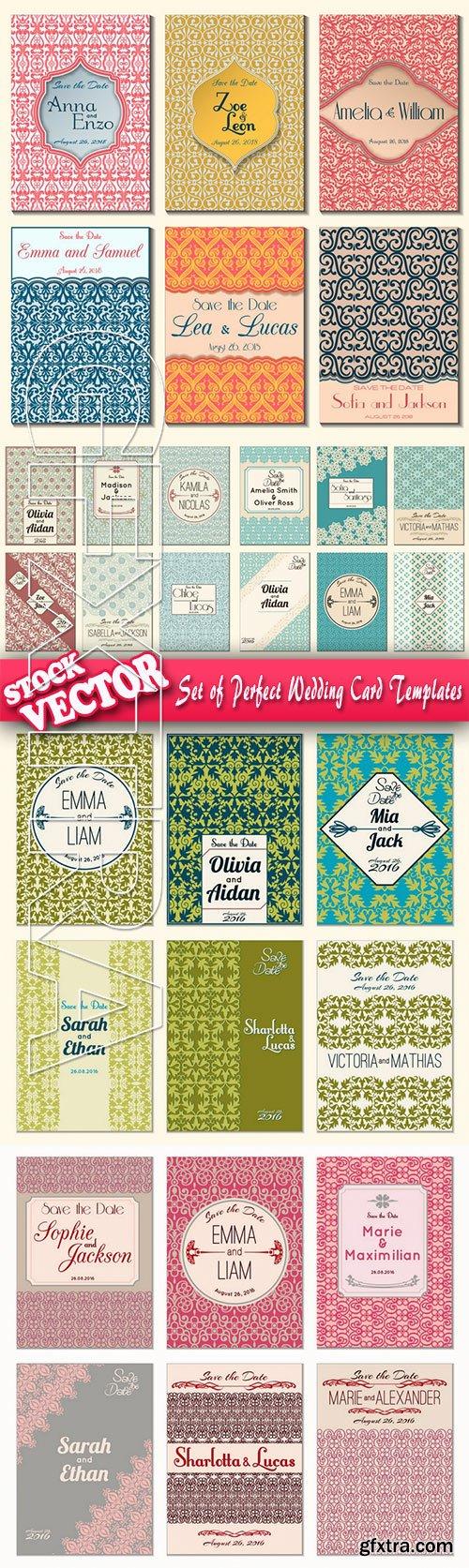 Stock Vector - Set of Perfect Wedding Card Templates