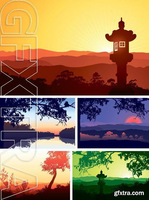 Stock Vectors - Sunset in a valley - Illustration