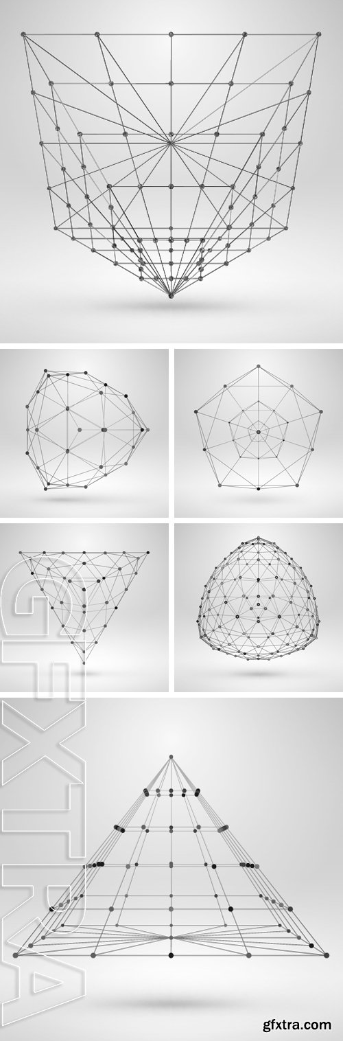 Stock Vectors - Wireframe Polygonal Element. Abstract Geometric 3D Object with Thin Lines