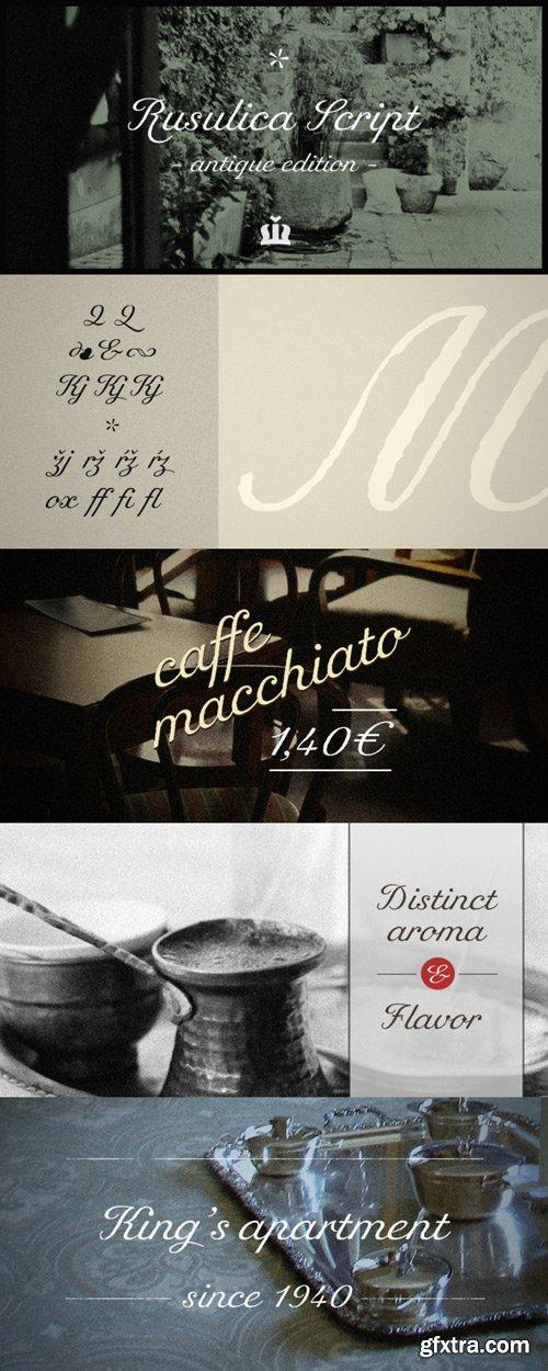 Rusulica Script Antique Font Family $24