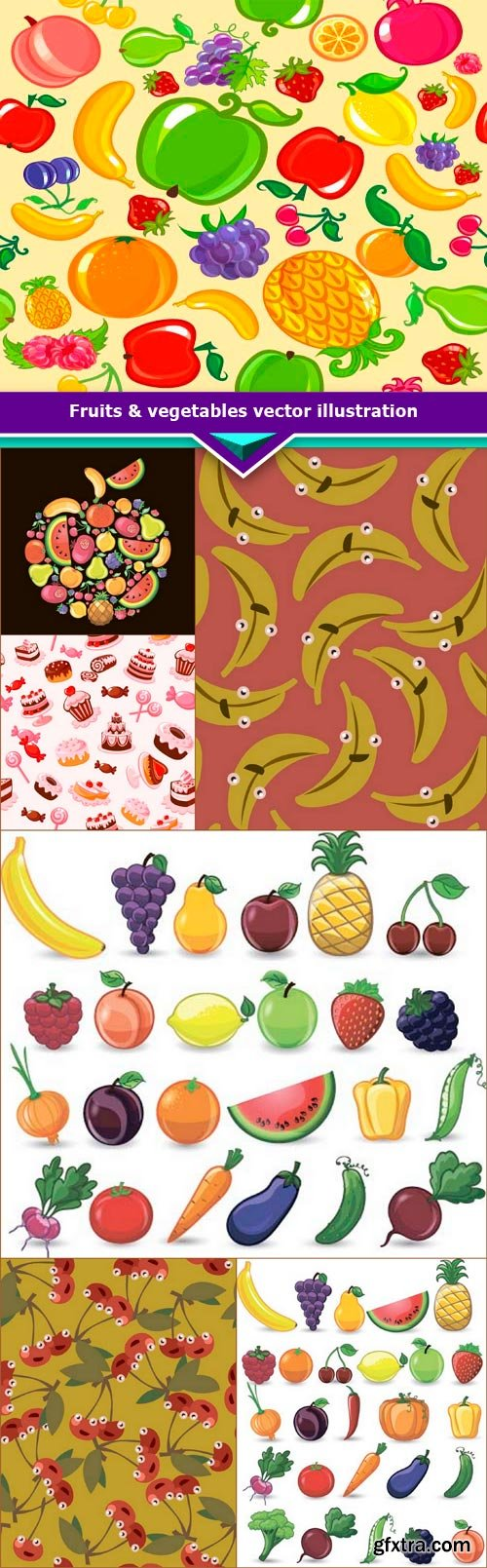 Fruits & vegetables vector illustration 7x JPEG