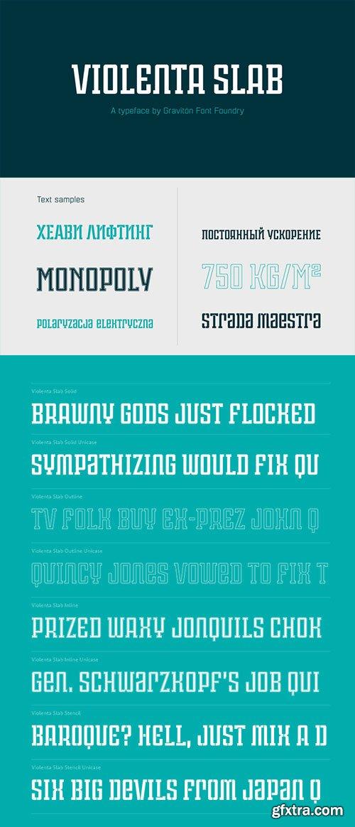 Violenta Slab - Display Geometric Typeface 8xOTF $90