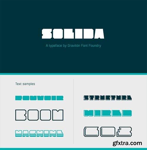 Solida - Ggeometric Angular Look Display Typeface 10xOTF $40