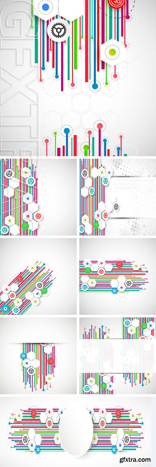 Stock Vectors - Color lines technology abstract background. Vector