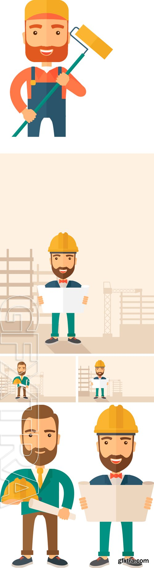 Stock Vectors - Construction worker . A Contemporary style. Vector flat design illustration