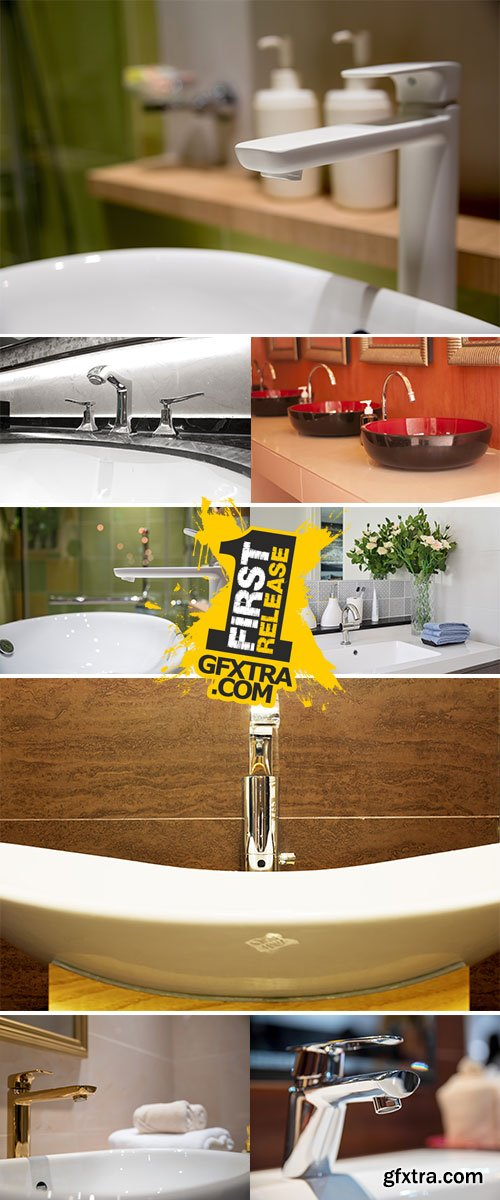 Stock Photo: Modern faucet and wash basin in luxury bathroom