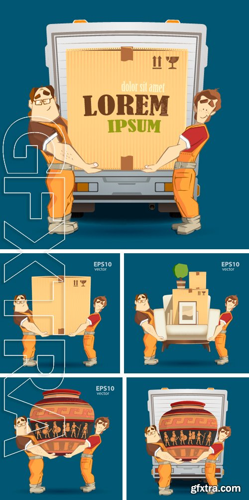 Stock Vectors - Delivery service.  3d color vector creative concept with characters