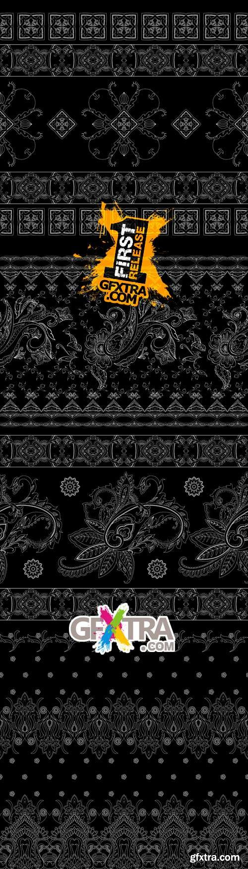 Black Floral Backgrounds Vector 2