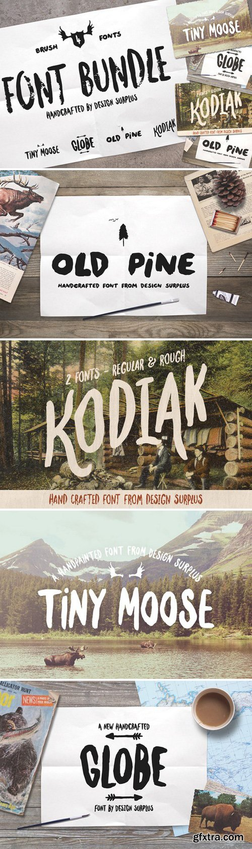 CM - Font Bundle Tiny Moose Old Pine & Old Pine Extras Globe Kodiak Regular & Kodiak Rough 279235