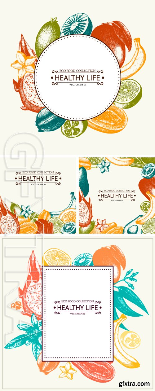 Stock Vectors - Vector card with ink hand drawn exotic fruits and plants sketch. Vintage frame with tropical fruits illustration