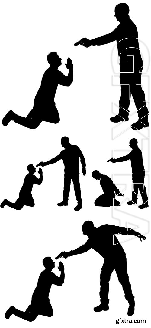 Stock Vectors - Vector silhouette of a man with a gun to a hostage