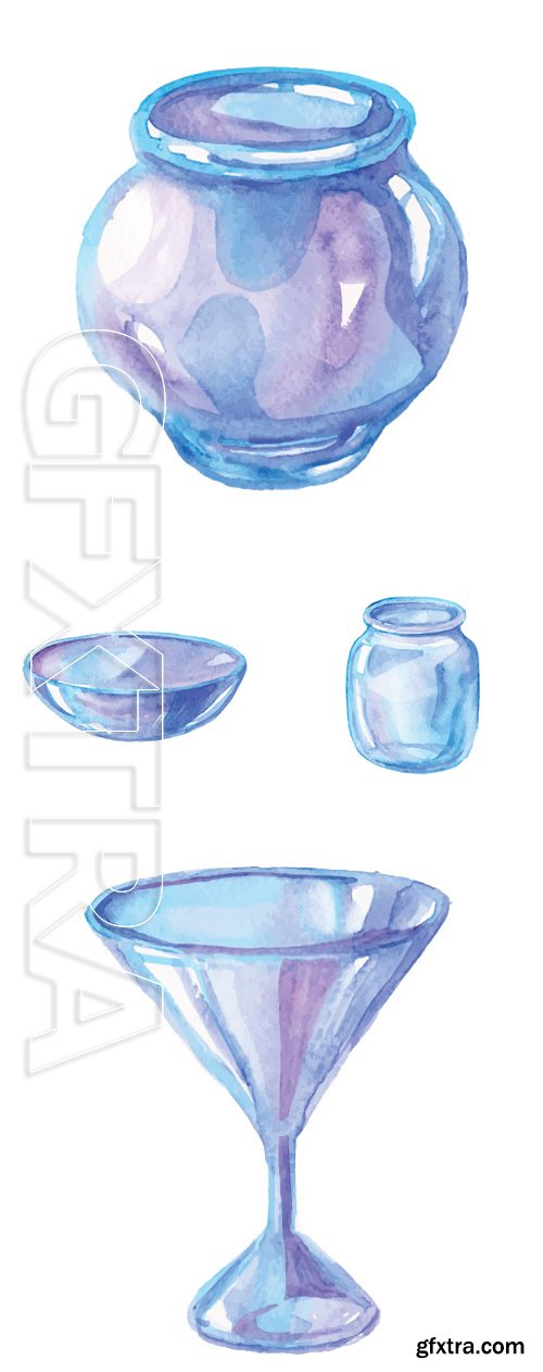 Stock Vectors - Watercolor glass jars, drink, plate