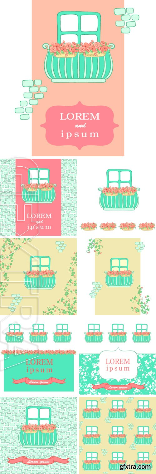Stock Vectors - Balcony with pink flowers frame postcard. hand-drawn vector