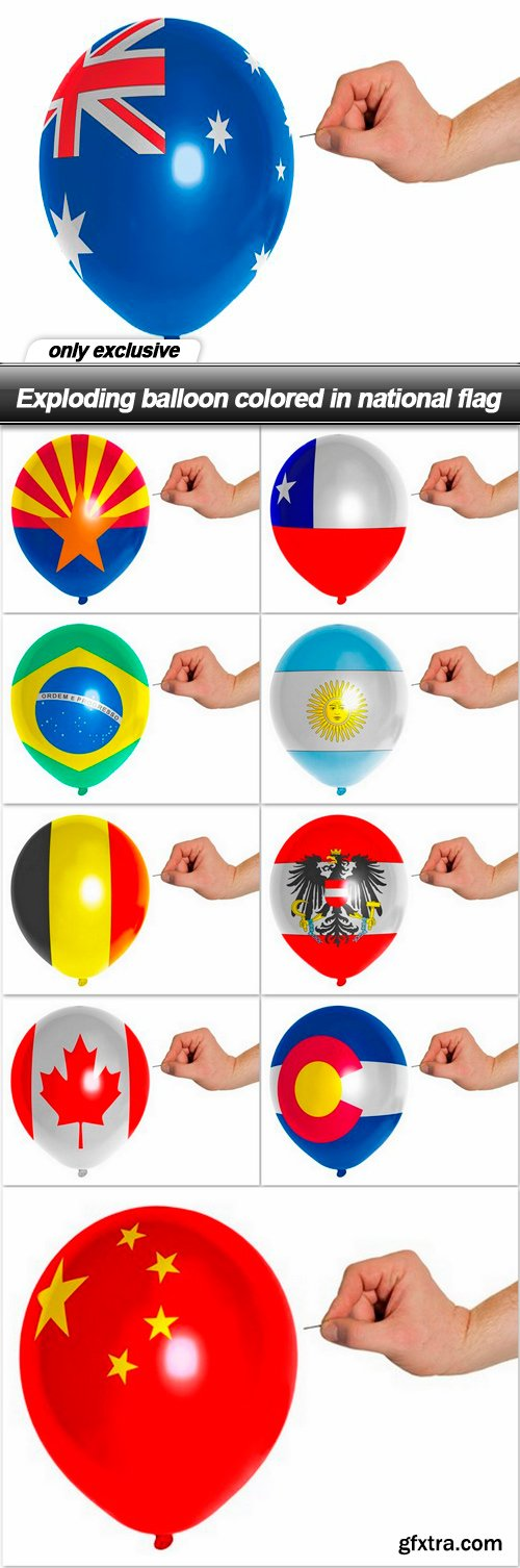 Exploding balloon colored in national flag - 10 UHQ JPEG