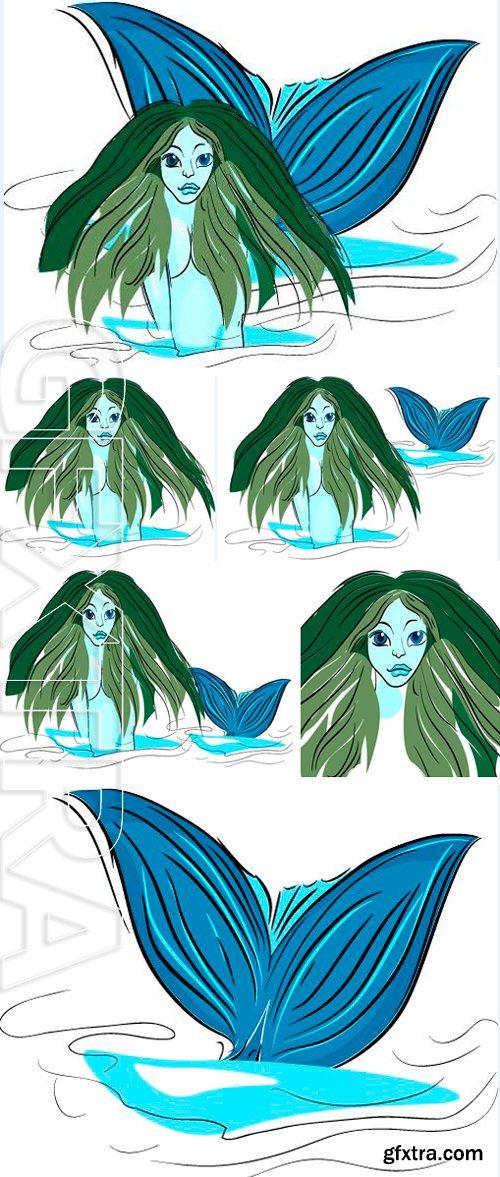 Stock Vectors - Portrait of mermaid