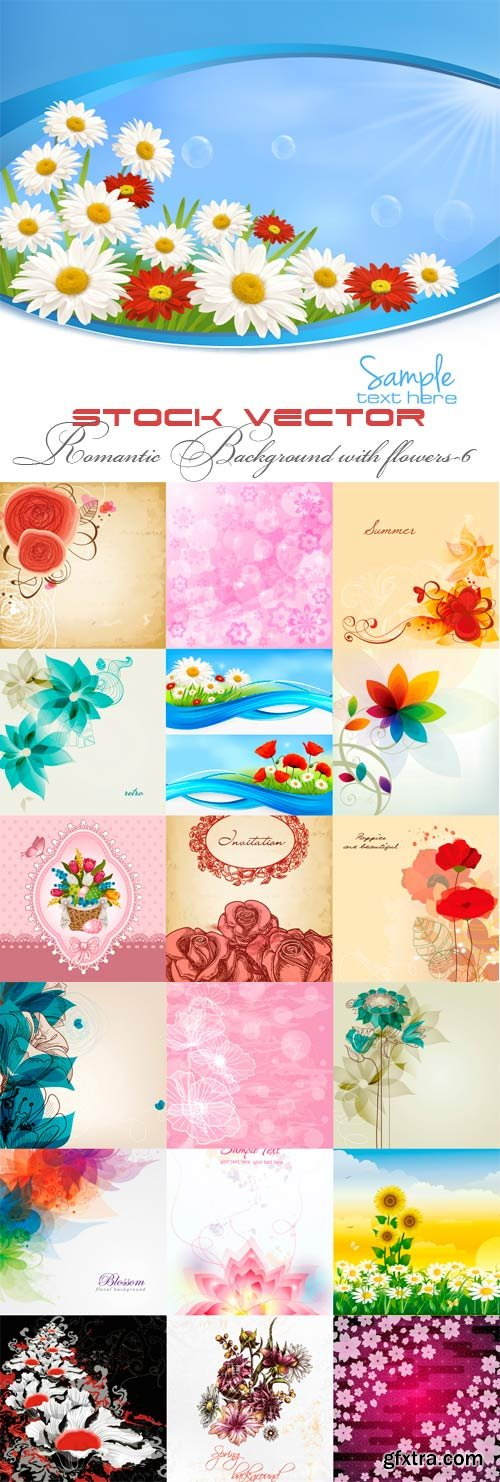 Romantic vector background with flowers-6