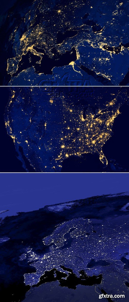 Stock Photo - Map of Europe & USA at night