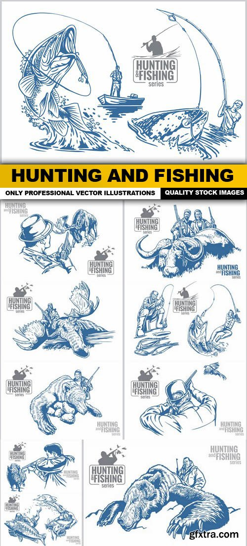 Hunting And Fishing - 10 Vector
