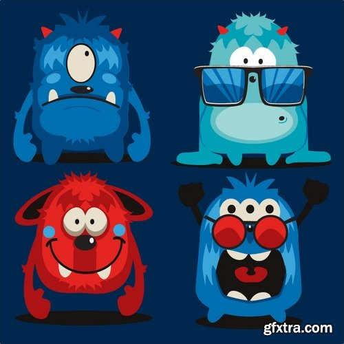 Collection of different vector funny picture cartoon characters 25 Eps