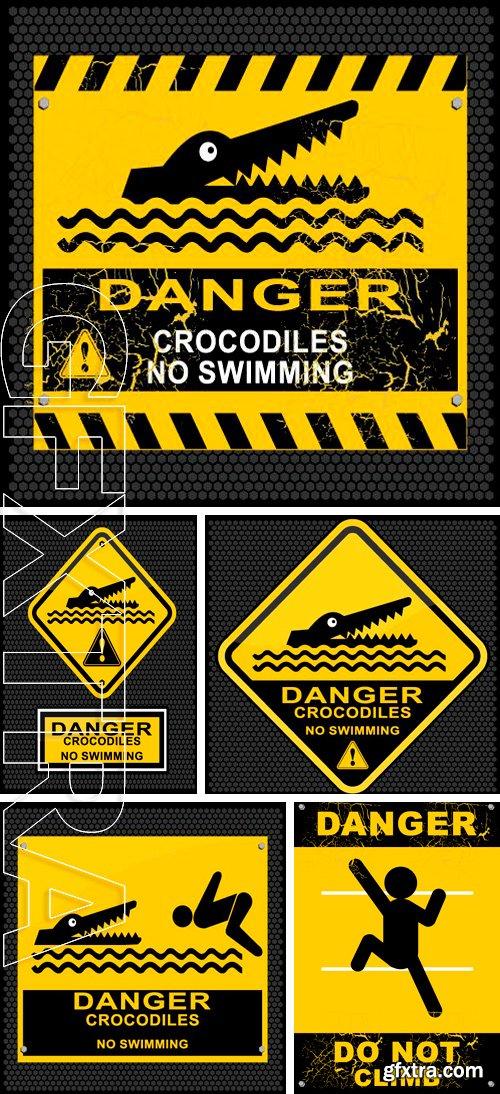 Stock Vectors - Danger, crocodiles, no swimming