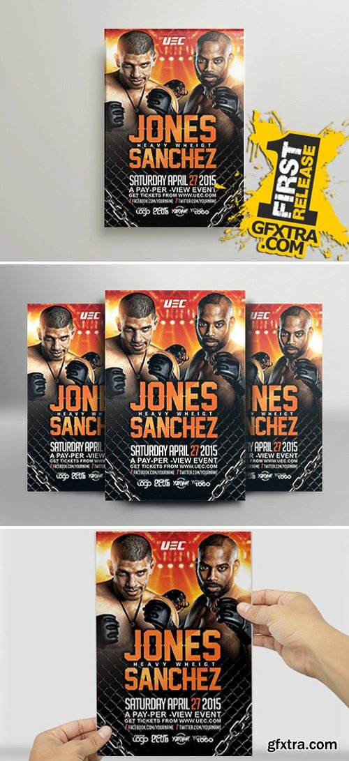 MMA Showdown Flyer Template » Vector, Photoshop PSDAfter Effects ...