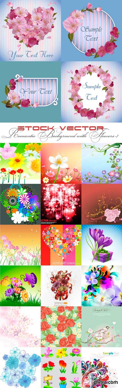 Romantic vector background with flowers-7