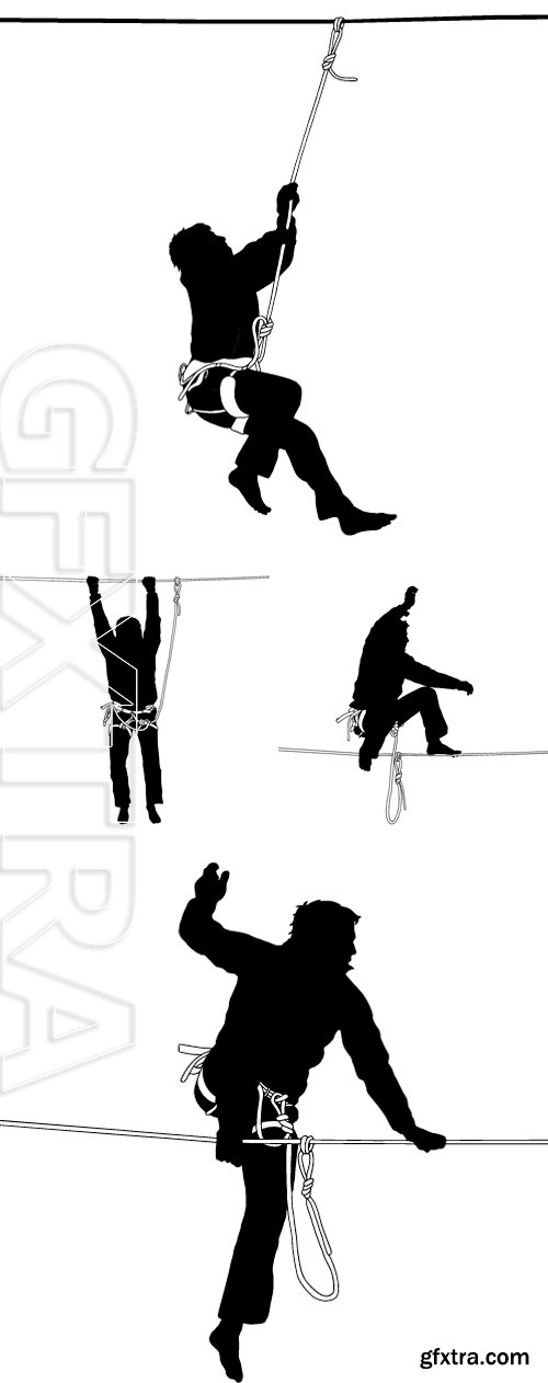 Stock Vectors - Silhouette of a man in a safety harness