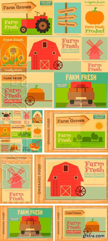 Stock Vectors - Farm Organic Food Poster on Wooden Background. Retro Placard. Vector Illustration